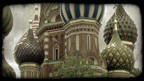 St. Basil's Cathedral 2. Vintage stylized video clip Footage