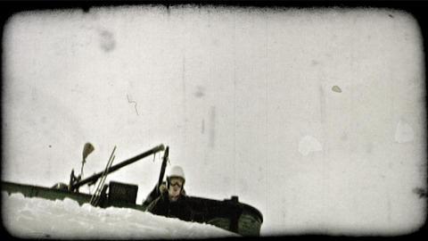 Expert skier jumps off ledge. Vintage stylized video clip Footage