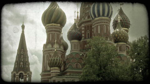 St. Basil's Cathedral 1. Vintage stylized video clip Footage