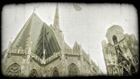 St. Stephen's Cathedral. Vintage stylized video clip Footage