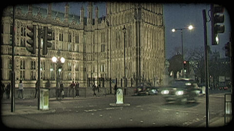 Street by Parliament 2. Vintage stylized video clip Footage