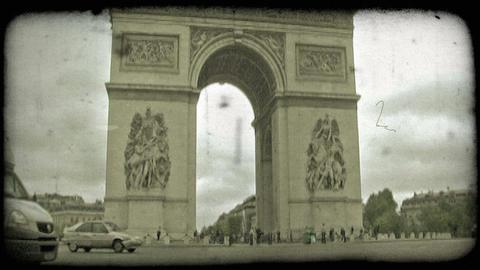 Arc de Triumph Traffic 1. Vintage stylized video clip Footage