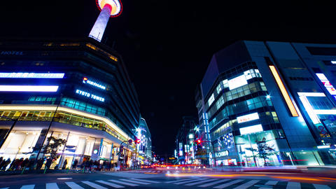 Night time lapse behind the TV tower in Kyoto Footage