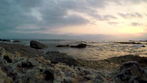 Sea surf against the sunset sky Footage