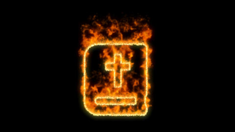 bible symbol inflames. Then disappears. In - Out loop. Alpha channel Animation