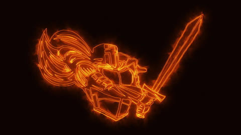 Burning Knight Warrior Animated Logo Loop Graphic Element Animation