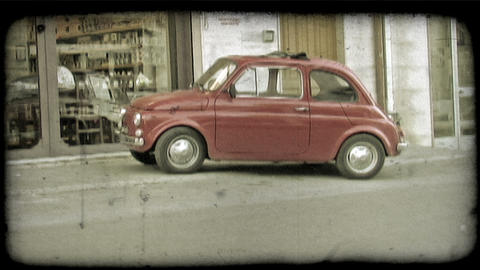 Red Car. Vintage stylized video clip Stock Video Footage