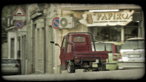 Red Truck. Vintage stylized video clip Live Action