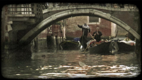 Venice Canal 2. Vintage stylized video clip Footage
