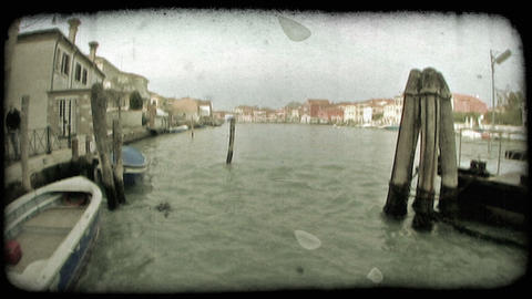 Venice Canal 11. Vintage stylized video clip Footage