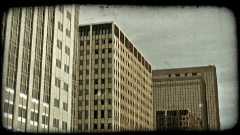 City buildings. Vintage stylized video clip Footage