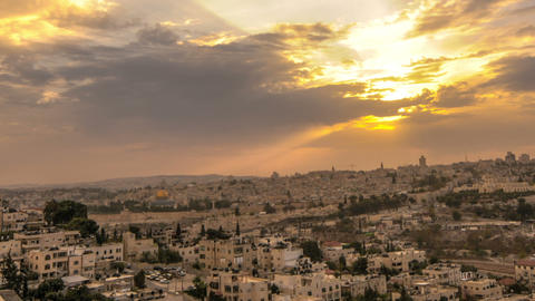 Panning shot of Cloudy sunset above Jerusalem Footage