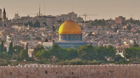 Time-lapse of the Dome of the Rock from the Mount of Olives. Cropped Footage