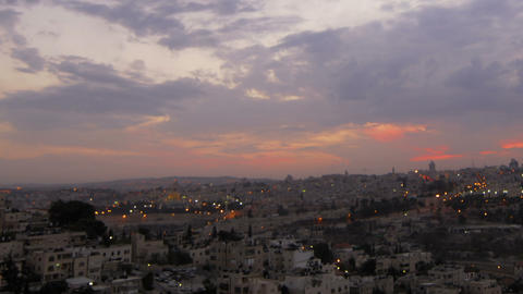 Panning shot of Sunset time-lapse of Jerusalem from the BYU Jerusalem center Footage