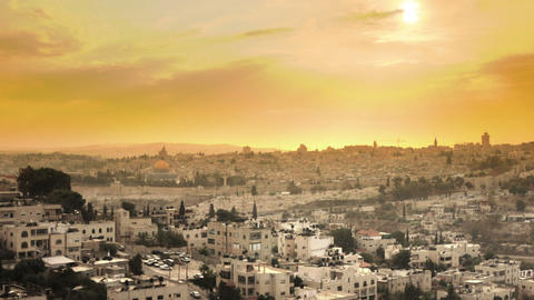 Panning shot of Sunset time-lapse from the BYU Jerusalem center Footage