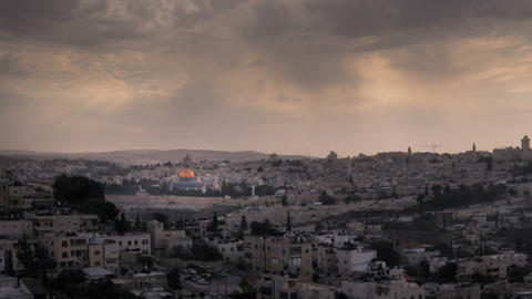 Time-lapse of the city and sun rays from the BYU Jerusalem center. Cropped Footage