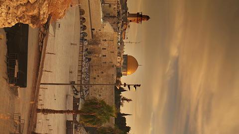 Vertical shot of Time lapse of sunrise over Old Jerusalem Footage