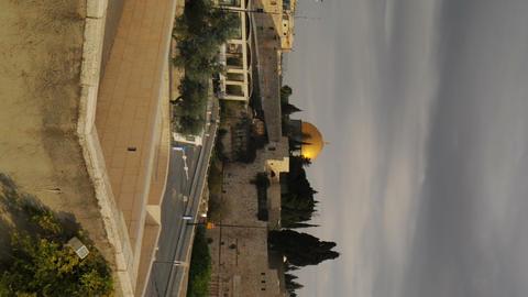 Vertical shot of Time lapse of sunrise over Old Jerusalem. Cropped Footage