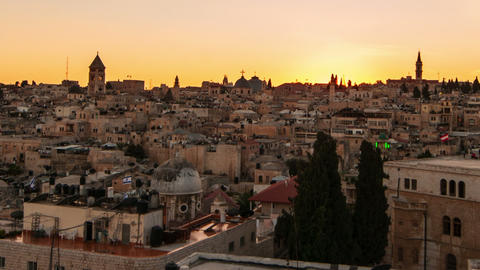 Panning shot of Time lapse of sunset over Jerusalem rooftops Footage