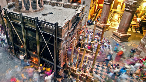 Panning shot of Time lapse of crowds visiting the Church of the Holy Sepulchre Footage