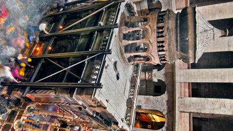 Vertical shot of Time lapse of crowds visiting the Church of the Holy Sepulchre Footage