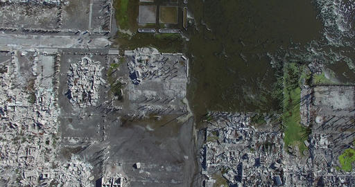 Top aerial drone scene of a destroyed city, epecuen, in buenos aires argentina Footage