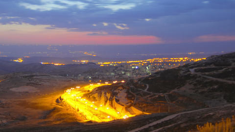 Time lapse of dawn breaking over Jordan. Cropped Footage