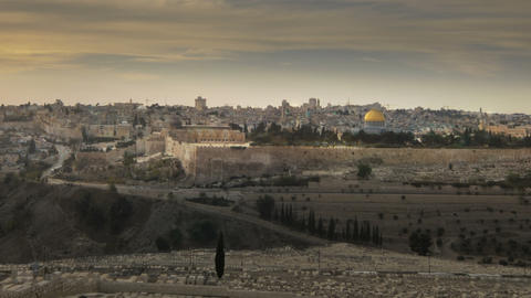 Time-lapse from the Mount of Olives overlooking the cemetery towards the Dome of Footage