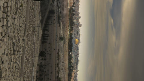 Vertical shot of Time-lapse from the Mount of Olives overlooking the cemetery to Footage