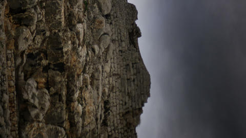 Vertical shot of Time-lapse of the castle ruins at Nimrod Footage