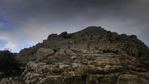 Panning shot of Time-lapse of the castle ruins at Nimrod Footage