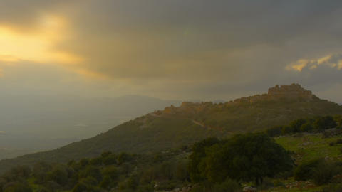 Evening sunset time-lapse in the hills near Nimrod, Israel. Cropped Footage