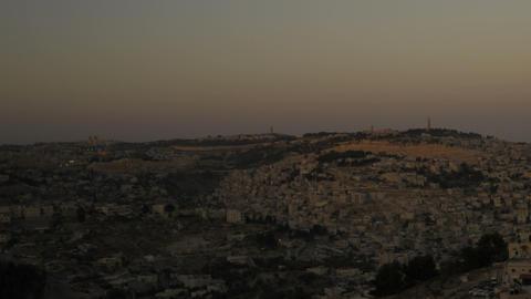 Panning shot of Sunset from behind shot of Jerusalem Live Action