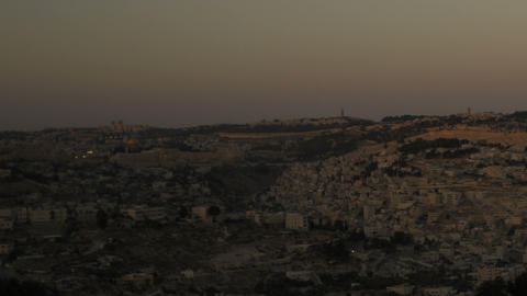 Sunset from behind shot of Jerusalem. Cropped Footage