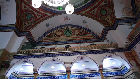 Stock Footage of interior arches and balcony of a mosque in Israel Footage