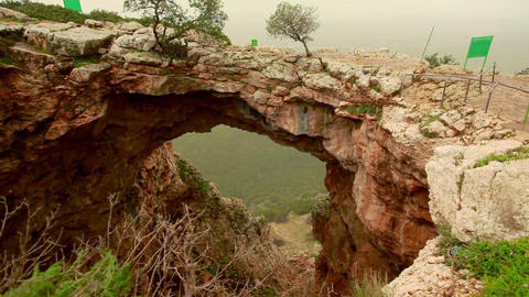 Stock Footage of a natural rock arch at Adamit Park Cave in Israel Footage