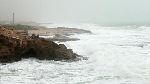 Stock Footage of waves crashing on the rocky Rosh Hanikra shore in Israel Footage