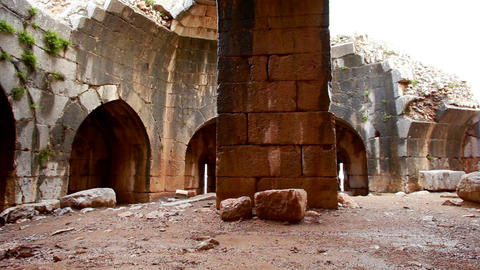 Stock Footage of a pillar and arches at Nimrod Fortress in Israel Footage