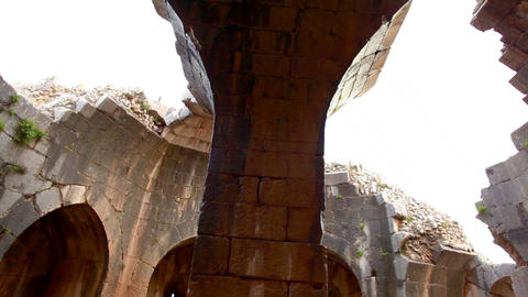 Stock Footage of an arched, domed ceiling at Nimrod Fortress in Israel Footage