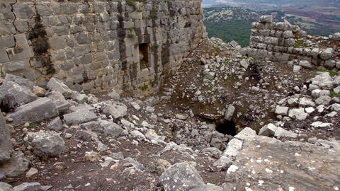 Stock Footage of crumbled walls at Nimrod Fortress in Israel Footage