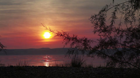 Stock Footage of dusk on the shores of the Sea of Galilee in Israel Footage