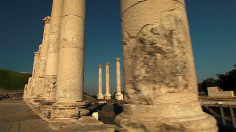 Stock Footage of rows of columns at Beit She'an in Israel Footage