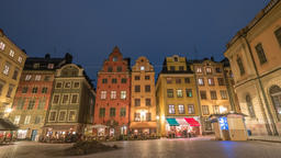 Stockholm Sweden time lapse 4K, city skyline day to night timelapse at Gamla Footage