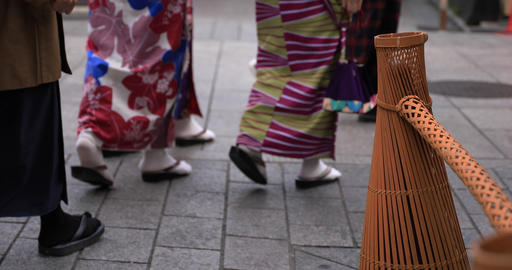 Walking people at old fashioned street in Gion Kyoto Live Action