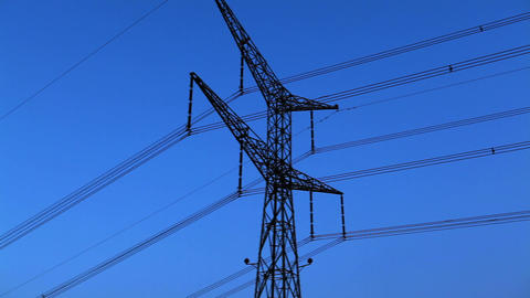 Stock Footage of a tower and power lines against the blue sky in Israel Footage