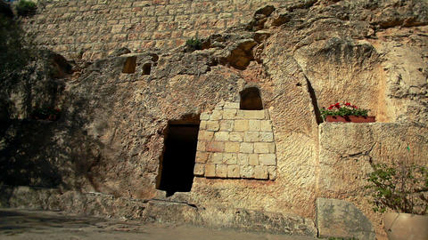 Stock Footage of the Garden Tomb entrance in Israel Footage