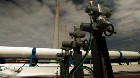 Stock Footage of valves, pipes, and smokestacks in Israel Footage