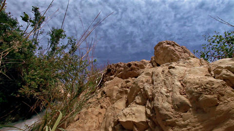 Stock Footage of the blue sky over an Ein Gedi cascade in Israel Footage