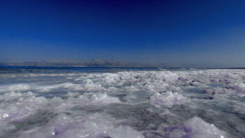 Stock Footage of the salty shores of the Dead Sea in Israel Footage
