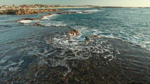the rocky coast of Dor Beach in Israel Footage